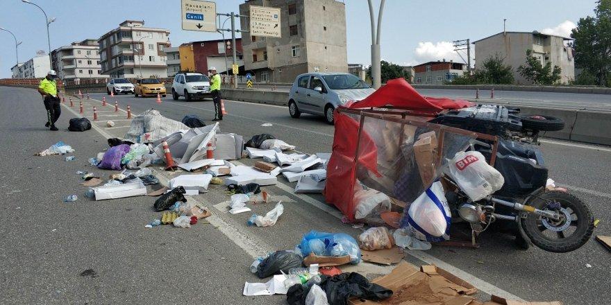 Samsun'da otomobil üç tekerli motosiklete çarptı: 1 yaralı